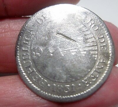 1831 Tf (Central American Republic (2 Reales ) Silver (Honduras) -Very Rare---