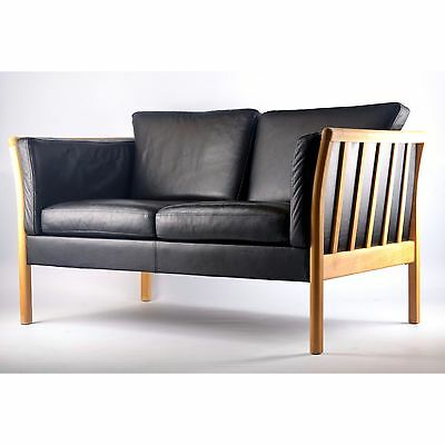 Vintage Danish two seat 2 person leather sofa with beech frame