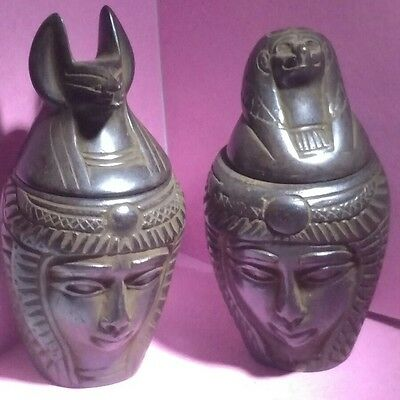 Egyptian Antique, Anubis & tefnut, Lot of 2 Egyptian Canopic Jars