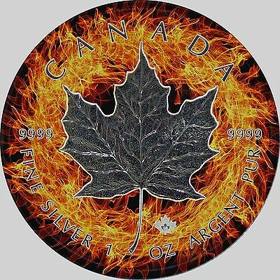 2017 1 Oz Ounce Silver Maple Leaf Coin .9999 Ruthenium Firering Theme