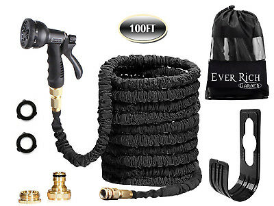 100FT BRASS FITTING Expandable Flexible Garden Hose Pipe + 8 Function Spray Gun