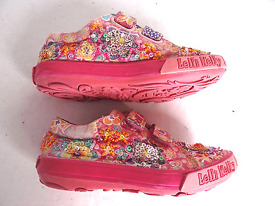 Lelli Kelly Girls  Pink Beaded Sequins Double Strap Sneakers Shoes Size 11