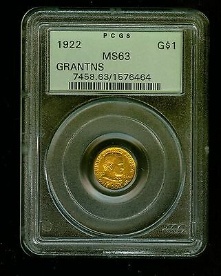 1922-P Grant No Star Gold Dollar Commemorative $1 PCGS MS 63 RARE LOW MINTAGE