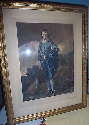 "Antique Large Gold Framed ""Blue Boy"" Print Pencil signed by artist Gainsborough"