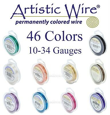 Artistic Wire 46 COLORS Tarnish Resistant SILVER PLATED Copper Round Wire