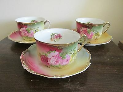 Antique Handpainted Germany Set Of 3 Tea Cup And Saucer Roses Gold