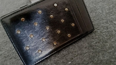 J.Crew black leather magic wallet with gold studs
