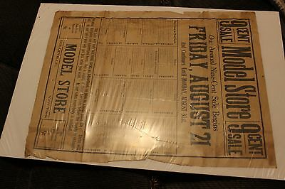 Large Broadside Advertising for the Model Store 9 Cent Sale in Dolgeville, NY