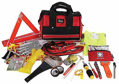 Thrive Roadside Assistance Auto Emergency Kit + First Aid Kit – Rugged Tool...