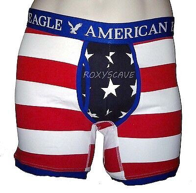 """NWT AMERICAN EAGLE OUTFITTERS MEN/'S 6/"""" STARS AND STRIPES TRUNK USA BOXER BRIEFS"""