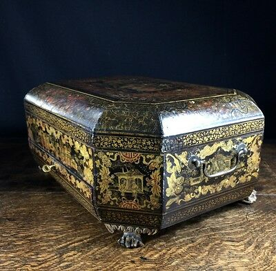 Chinese lacquer sewing box with fittings, writing slope, c. 1830