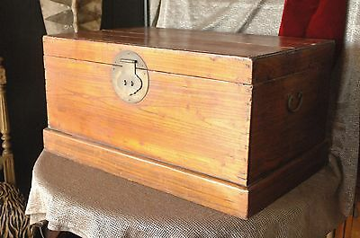 Old Chinese Elm Wood Travel / Hope Chest …beautiful light Elm wood
