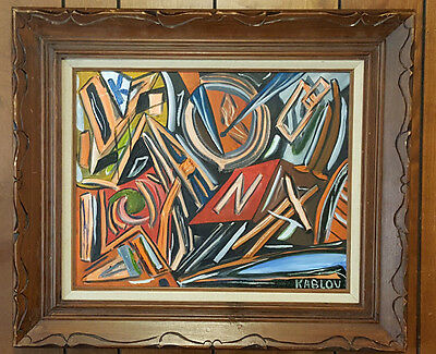 Framed Oil on Canvas Abstract Scene Painting. Signed. Kablov.