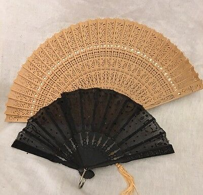 2 Vintage Folding Hand Fans Black Sequins On Thin Material And Detailed Bamboo