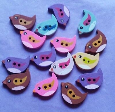 Fabulous Wooden Buttons - Birds - Gorgeous!