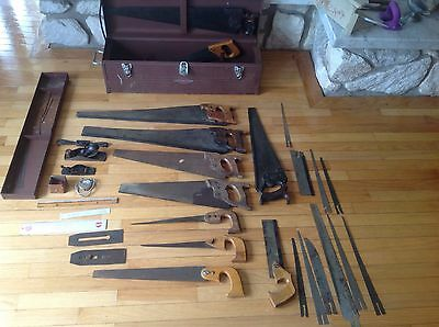 Lot of Vintage Hand Saws Craftsman Tool Box & Assorted assesories
