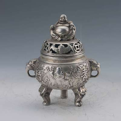 Chinese Tibetan Silver  Hand-Carved  Buddha Incense Burner W Ming Xuan De gd8658