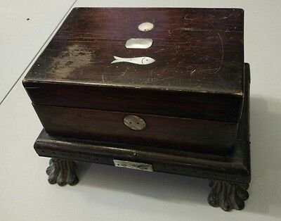 Vintage Wooden Inlaid w/mother of pearl Jewelry trinket Box