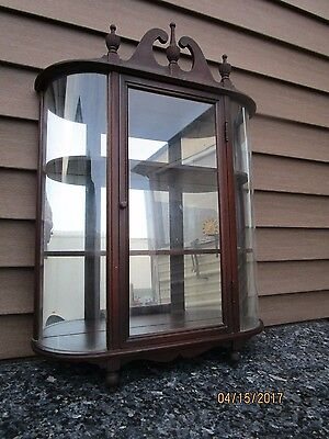 Antique Curio Display Wall Cabinet Display Case Curved Convex Glass 3 Tier Shelf