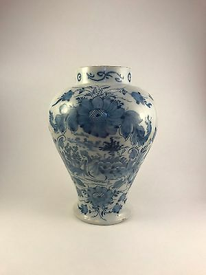Antique Delft Vase Blue Flowers & Maiden, Late 17th / 18th c. Marked