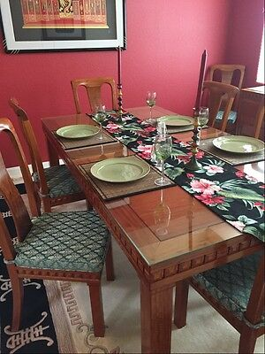 Rosewood Dining Room Set,Asian Theme, 8 Chairs, Table, Buffet