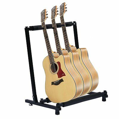NEWEST 3-Way Multi Guitar Stand Foldable Acoustic Electric Bass Guitar Rack DE