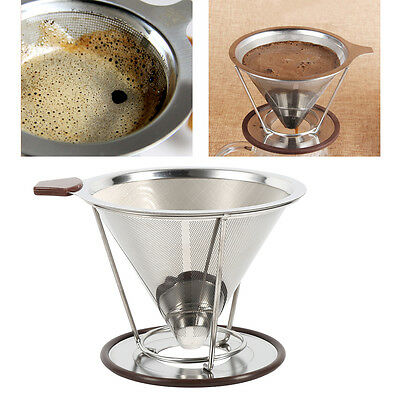 Stainless Steel Pour Over Cone Dripper Reusable Coffee Filter Cup Stand 2 Layer