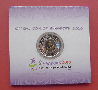 Singapore 2010 Youth Olympic Games 2 Dollars Bimetallic Coin in Card