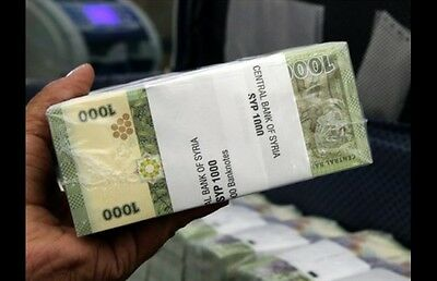 A Lot Of 100 (Bundle) 1K Syrian Pound Currency Banknotes