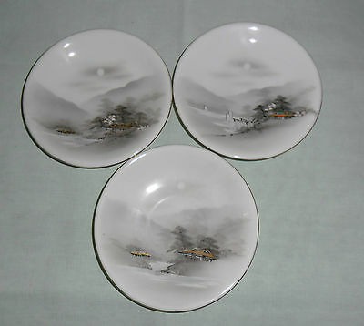 Vintage Kutani Handpainted Demitasse Saucers X 3 : Handpainted Mountain Village