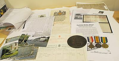 W.w.1 Trio  Of Medals With Death Plaque And Scroll
