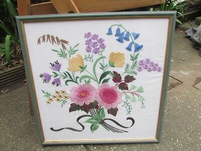 VINTAGE beautiful Embroidery  floral Picture In  Framed