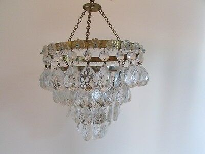 Beautiful Antique French Crystal Glass  Chandelier With Chains