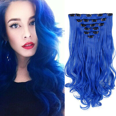 Creamily 8pcs Dark Blue Dyed Hairpiece Hidden Synthetic Clips in Hair Extensions