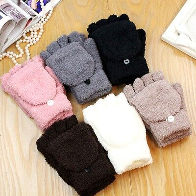 1 Pair Men Women Unisex Wrist Fingerless Glove Half Finger Flip Mitten Gloves
