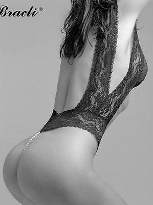 Bracli Your Night black medium lace pearl thong lingerie bodysuit new authentic