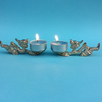 VINTAGE DECORATIVE DRAGONS PAIR Silver Plate Brass Gem Orb Tea Candle Holders