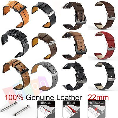 Genuine Leather Strap Band For Samsung Gear S3, 22mm, LG Watch R, ASUS Zenwatch.