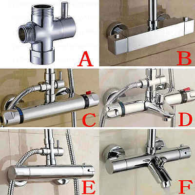 Thermostatic Bar Mixer Shower Exposed Valve Tap Shower Diverter 3-Way T-adapter