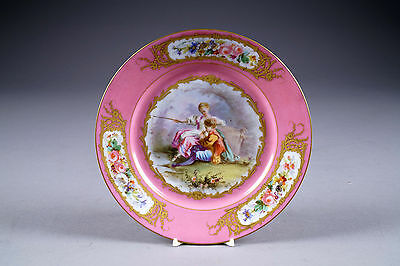 Antique Sevres porcelain marked pink 19thc French plate romantic fishing scene