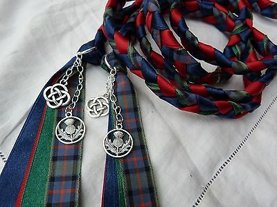 Flower of scotland - Handfasting scottish wedding cord red blue celtic charms