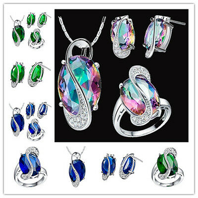 New Women 925 silver gemstone Fashion Earring & pendant + ring Jewelry set