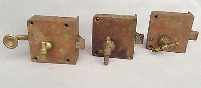 3 antique french door locks lot early 1900's brass cast iron signed Parisienne