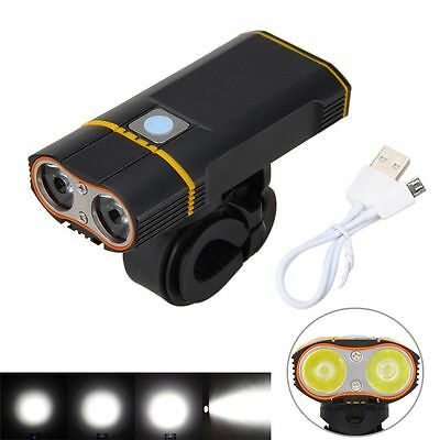 5000LM Waterproof Bike XML-2 USB Rechargeable LED Front Light Lamp 5 Modes