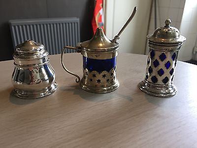 small silver and blue condiments set