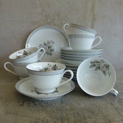 6  Mid Century Noritake RC Teacups Saucers and Plates Japan Trios 1950s Floral