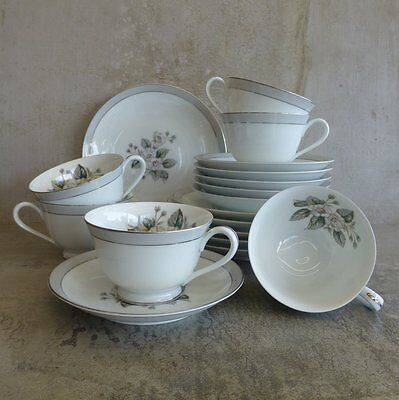 6 x Vintage Noritake RC Teacups Saucers and Plates Japan Trios 1950s Floral