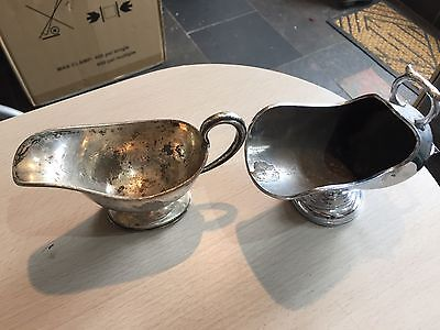 2 antique silver jug/gravy boats