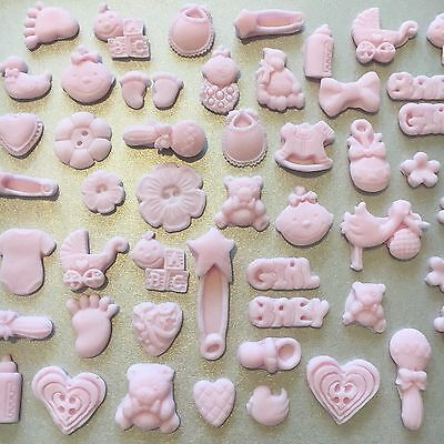 32 Pink/girl mixed Edible Christening/Baby shower Cupcake/Cake Topper/Decoration