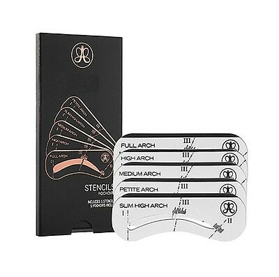 ANASTASIA - 5 Eyebrow Stencils Shaper Grooming Kit Brow MakeUp Tool Reusable